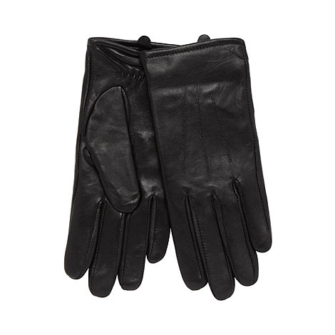 Isotoner - Black stitched leather gloves