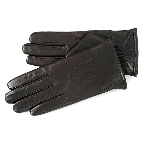 Isotoner - Chocolate three point leather gloves with fleece lining