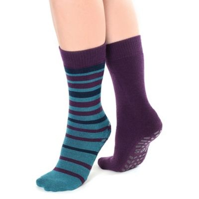 Twin pack purple stripe and plain original totes toastie slipper socks
