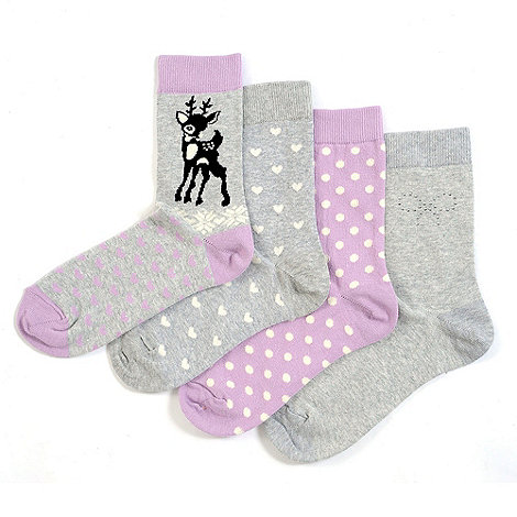 Totes - 4 pair pack of pastel patterned ankle socks