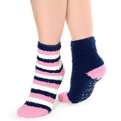 Totes - Twin pack navy stripe and plain supersoft slipper socks