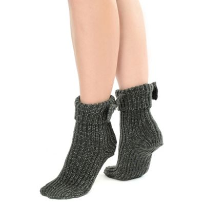 Grey bow cuff ankle socks