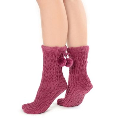 Berry chunky chenille socks with pom pom detail