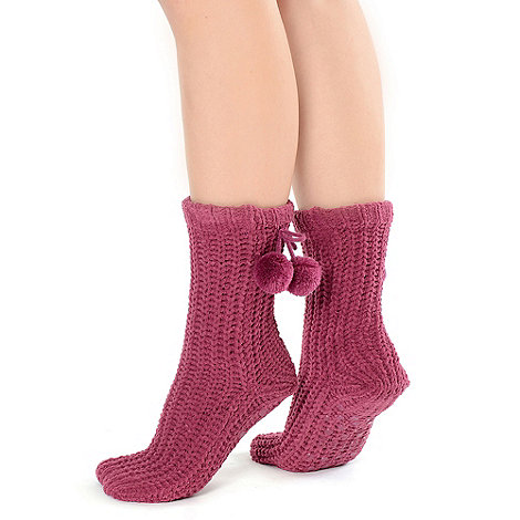 Totes - Berry chunky chenille socks with pom pom detail