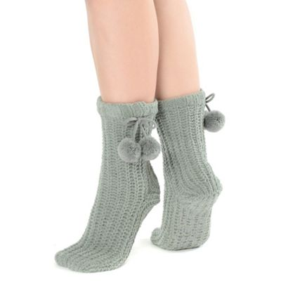 Grey chunky chenille socks with pom pom detail