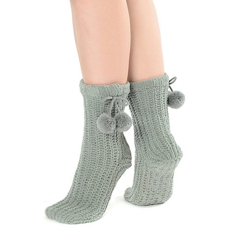 Totes - Grey chunky chenille socks with pom pom detail