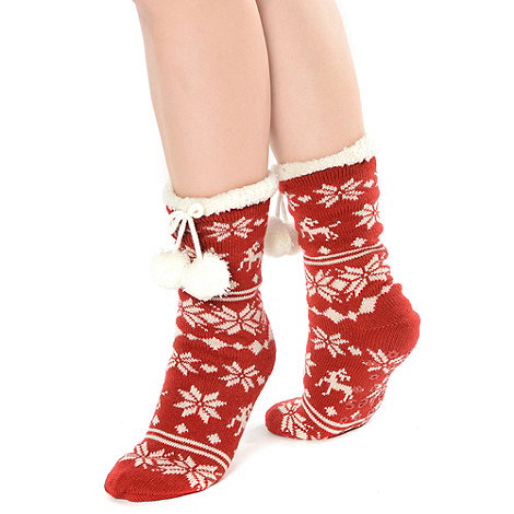Totes - Red luxury nordic style toastie socks