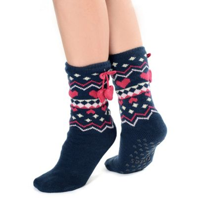 Navy nordic style socks with heart pom pom