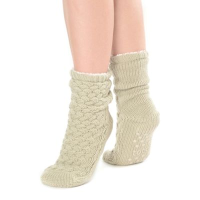 Oatmeal luxury cable knit toastie socks