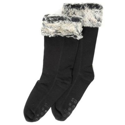 Black tipped fur cuff welly boot sox