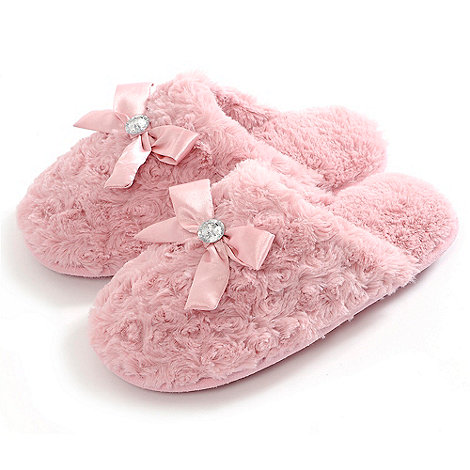 Totes - Pink luxury faux fur mule slippers with bow and diamante detail