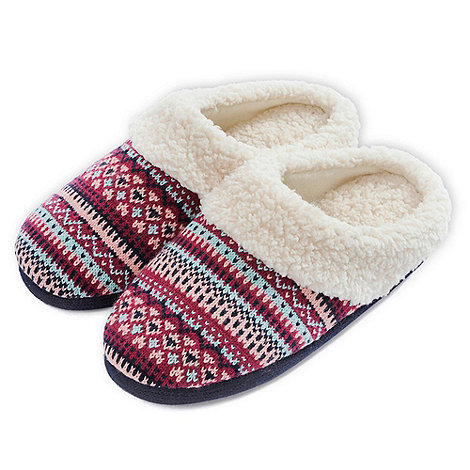 Totes - Berry fair isle mule slippers