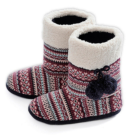 Totes - Berry fair isle bootie slippers with pom pom