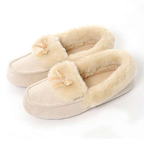 Totes - Natural suedette moccasin slippers