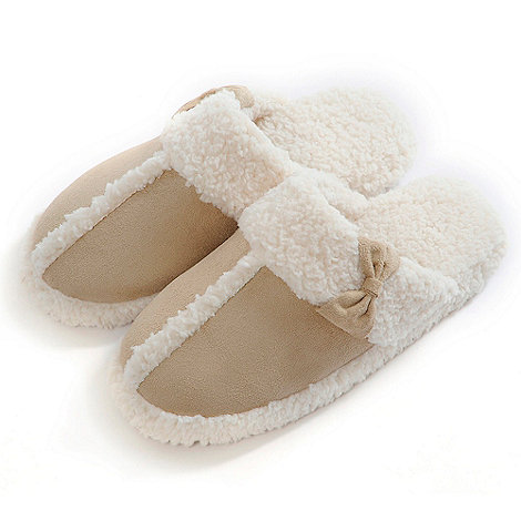 Totes - Natural suedette mule slippers