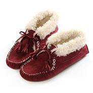 Red bootie moccasin slippers