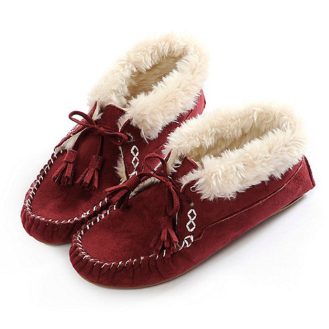 Totes - Red bootie moccasin slippers