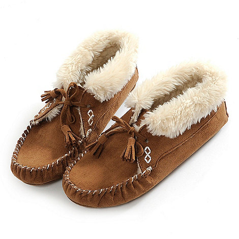 Totes - Tan bootie moccasin slippers