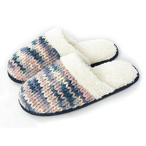 Totes - Pastel chunky knit mule slippers