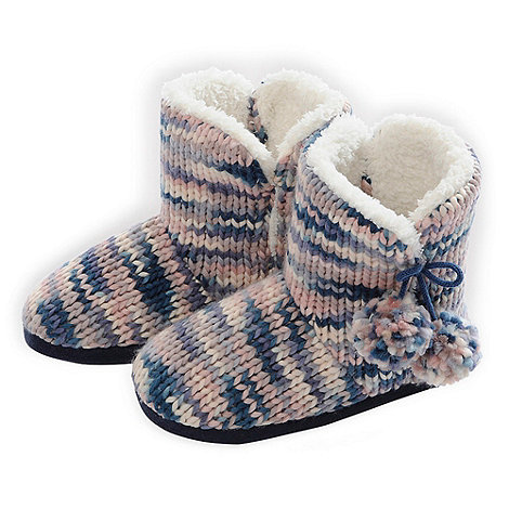 Totes - Pastel chunky knit bootie slippers