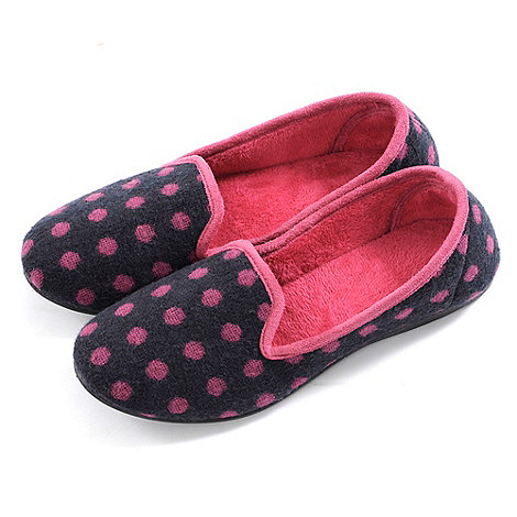 Totes - Navy polka dot knitted slippers