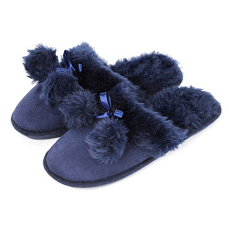 Totes - Navy suedette mule slippers with ribbon bow and pom pom detail