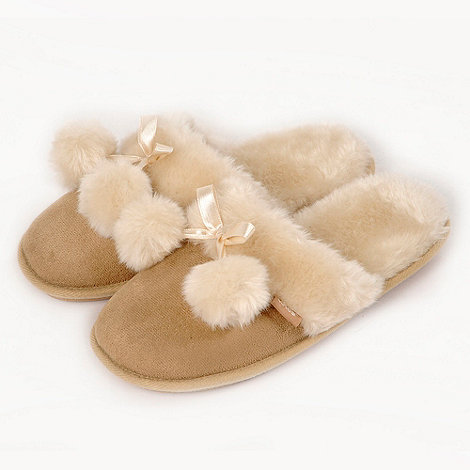 Totes - Tan suedette mule slippers with ribbon bow and pom pom detail