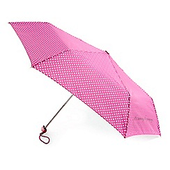 Totes - Raspberry and cream dot miniflat umbrella with 'its raining, its pouring' text
