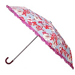 Totes - Cabbage rose print with spotty frill crook handle umbrella
