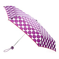 Totes - Large purple dot with cream background and raspberry binding mini round umbrella