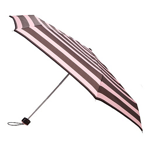 Totes - Charcoal and pink block stripe miniflat umbrella