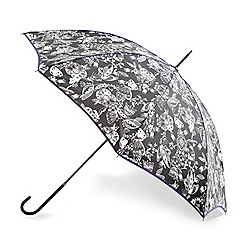 Totes - Enchanted black and white print with purple trim elegant walker umbrella