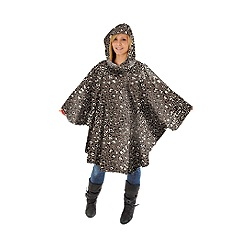 Totes - Mocha leopard print rain poncho with self front pocket