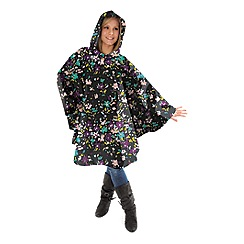 Totes - Painted floral print rain poncho with self front pocket