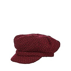 The Collection - Dark red chunky woven baker boy hat