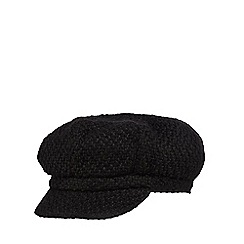 The Collection - Black chunky woven baker boy hat