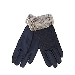 The Collection - Navy quilted gloves