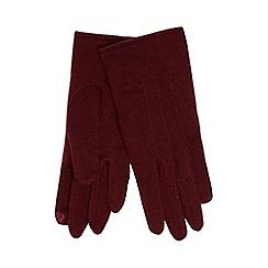 The Collection - Dark red touch screen wool rich gloves