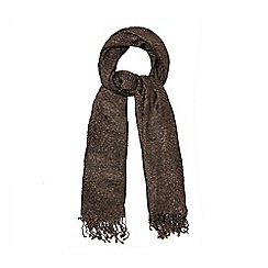 The Collection - Dark brown pleated scarf