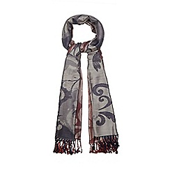The Collection - Navy and dark red two-tone floral woven scarf