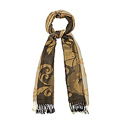 The Collection - Taupe and cream two-tone floral woven scarf
