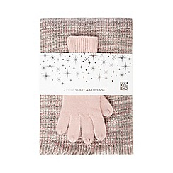 The Collection - Grey and pink boucle scarf and gloves set