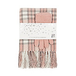 The Collection - Pink and grey checked scarf and gloves set