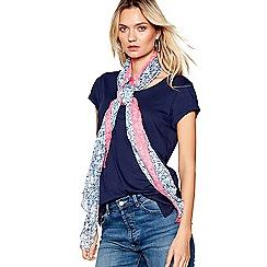 Mantaray - Blue ditsy print border scarf