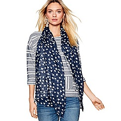 Mantaray - Navy geometric heart print scarf