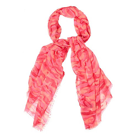 H! by Henry Holland - Designer bright pink camouflage scarf