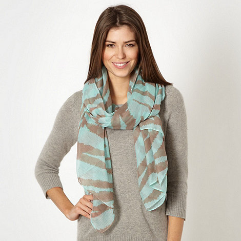 Betty Jackson.Black - Designer turquoise zebra woven scarf