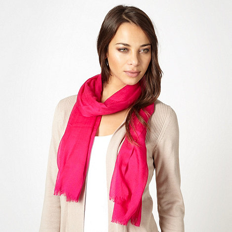 J by Jasper Conran - Designer bright pink cashmere blend scarf