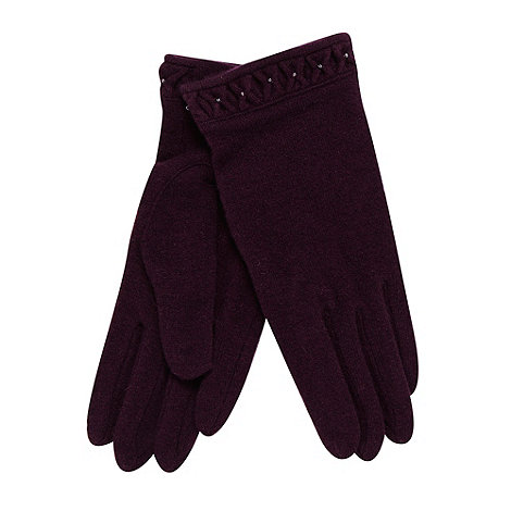 RJR.John Rocha - Designer wine fine knit beaded cuff gloves
