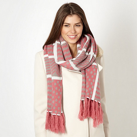 Mantaray - Rose multi patterned grid scarf